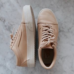 Peach leather Vans